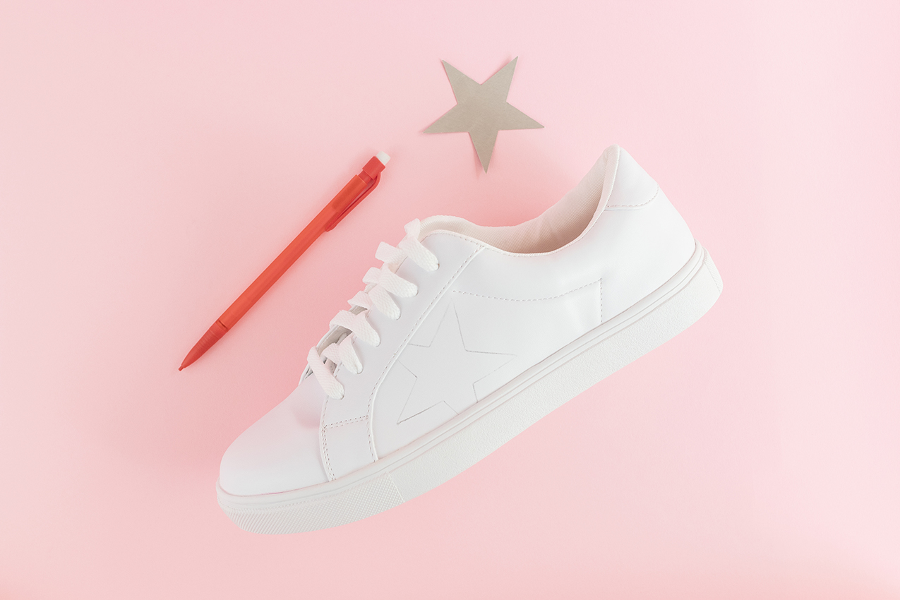 Trace star shape onto shoe.