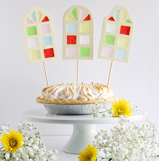 DIY Stained Glass Cake Toppers