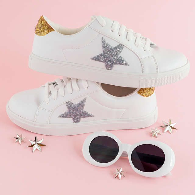 DIY Glitter Star Shoes